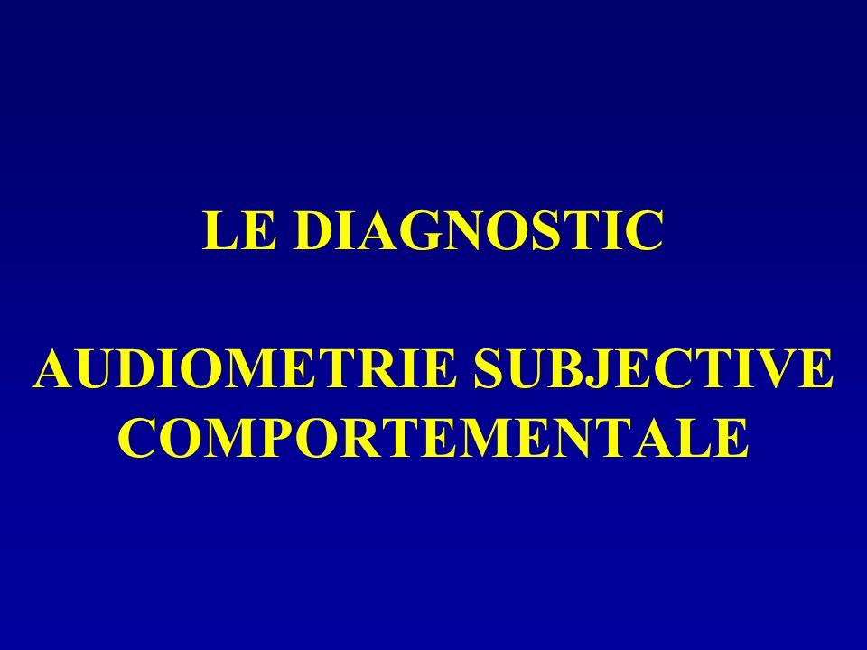 LE DIAGNOSTIC AUDIOMETRIE SUBJECTIVE COMPORTEMENTALE