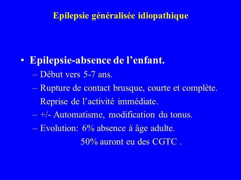 Epilepsie généralisée idiopathique Epilepsie-absence de lenfant. –Début vers 5-7 ans. –Rupture de contact brusque, courte et complète. Reprise de lact