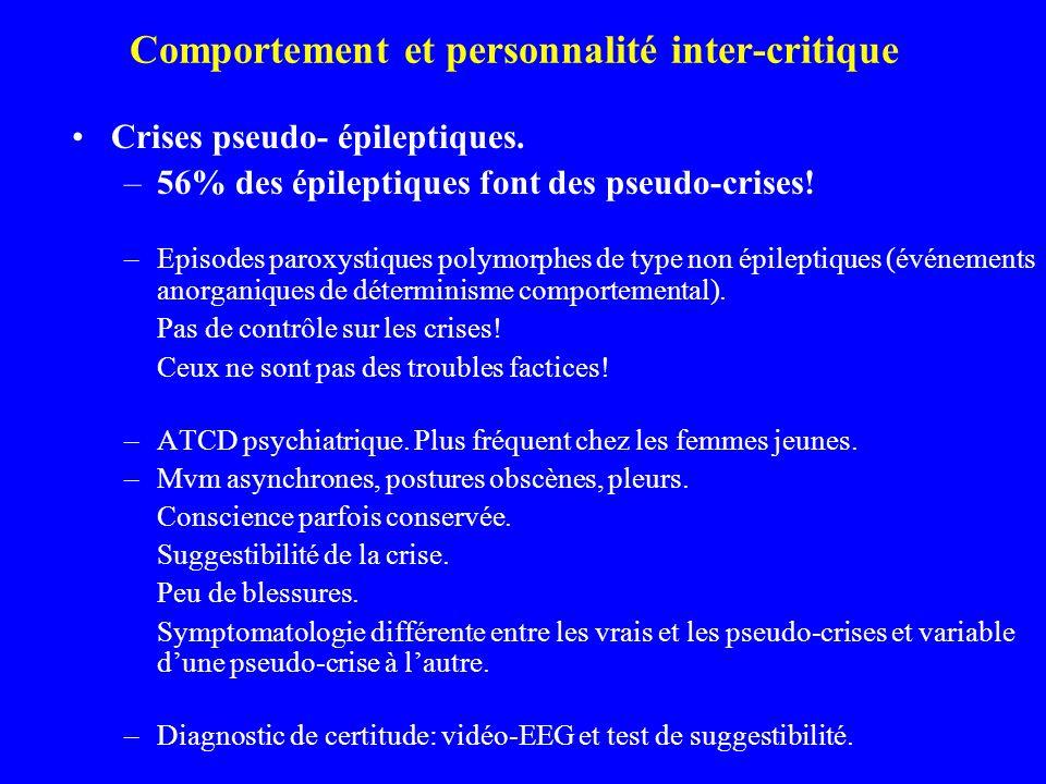 Comportement et personnalité inter-critique Crises pseudo- épileptiques. –56% des épileptiques font des pseudo-crises! –Episodes paroxystiques polymor