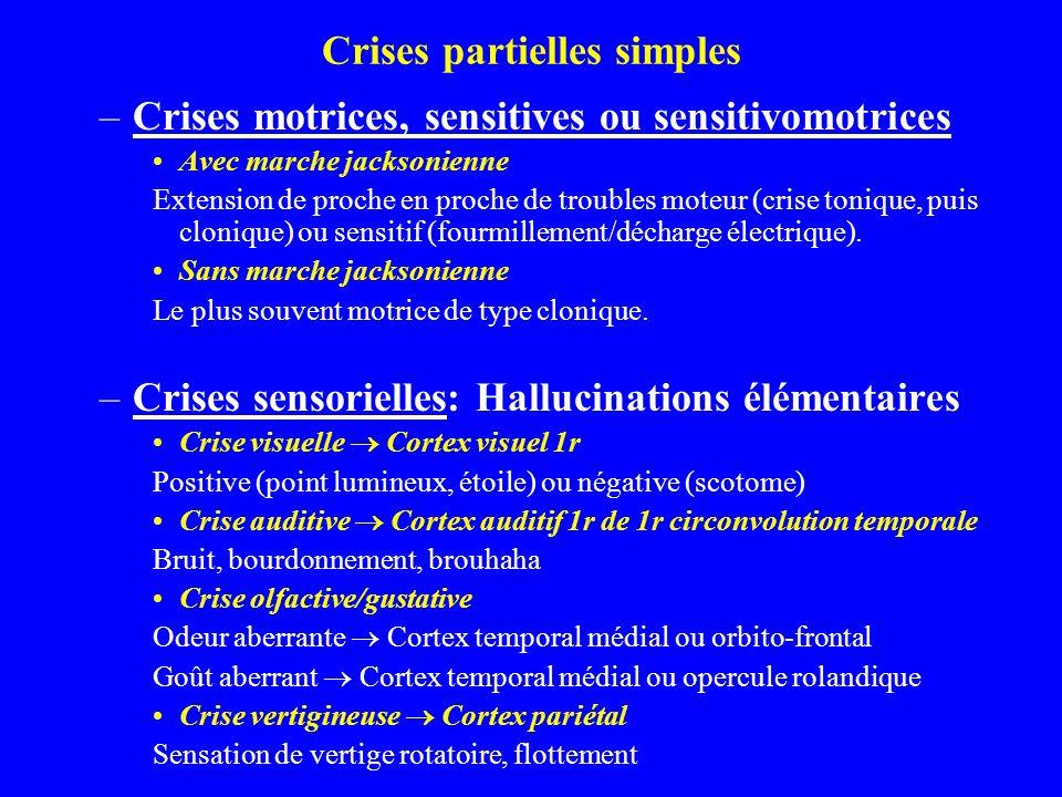 Crises partielles simples –Crises motrices, sensitives ou sensitivomotrices Avec marche jacksonienne Extension de proche en proche de troubles moteur