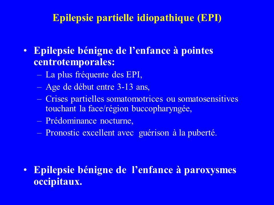 Epilepsie partielle idiopathique (EPI) Epilepsie bénigne de lenfance à pointes centrotemporales: –La plus fréquente des EPI, –Age de début entre 3-13