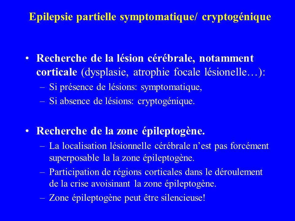 Epilepsie partielle symptomatique/ cryptogénique Recherche de la lésion cérébrale, notamment corticale (dysplasie, atrophie focale lésionelle…): –Si p