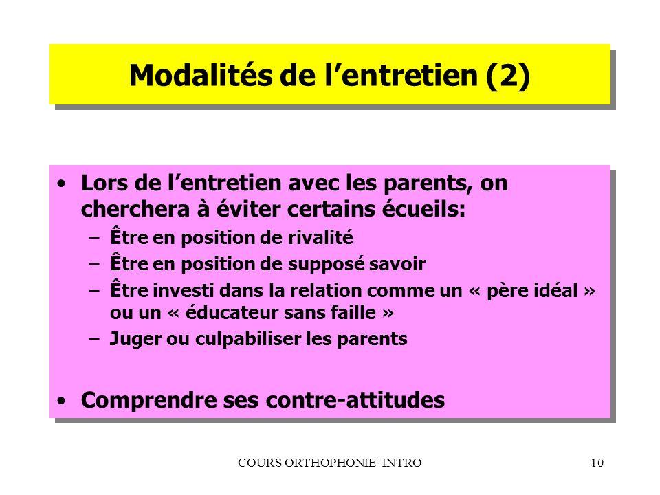 COURS ORTHOPHONIE INTRO10 Modalités de lentretien (2) Lors de lentretien avec les parents, on cherchera à éviter certains écueils: –Être en position d