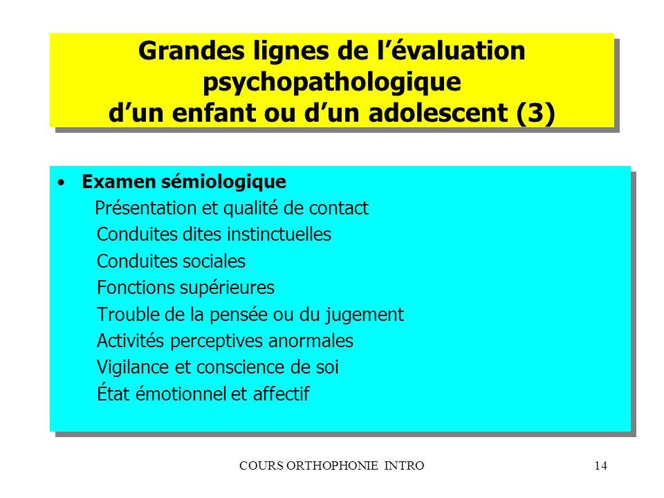 COURS ORTHOPHONIE INTRO14 Grandes lignes de lévaluation psychopathologique dun enfant ou dun adolescent (3) Examen sémiologique Présentation et qualit