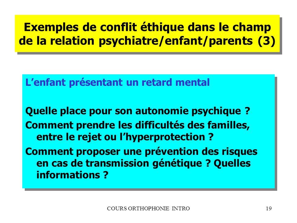 COURS ORTHOPHONIE INTRO19 Exemples de conflit éthique dans le champ de la relation psychiatre/enfant/parents (3) Lenfant présentant un retard mental Q