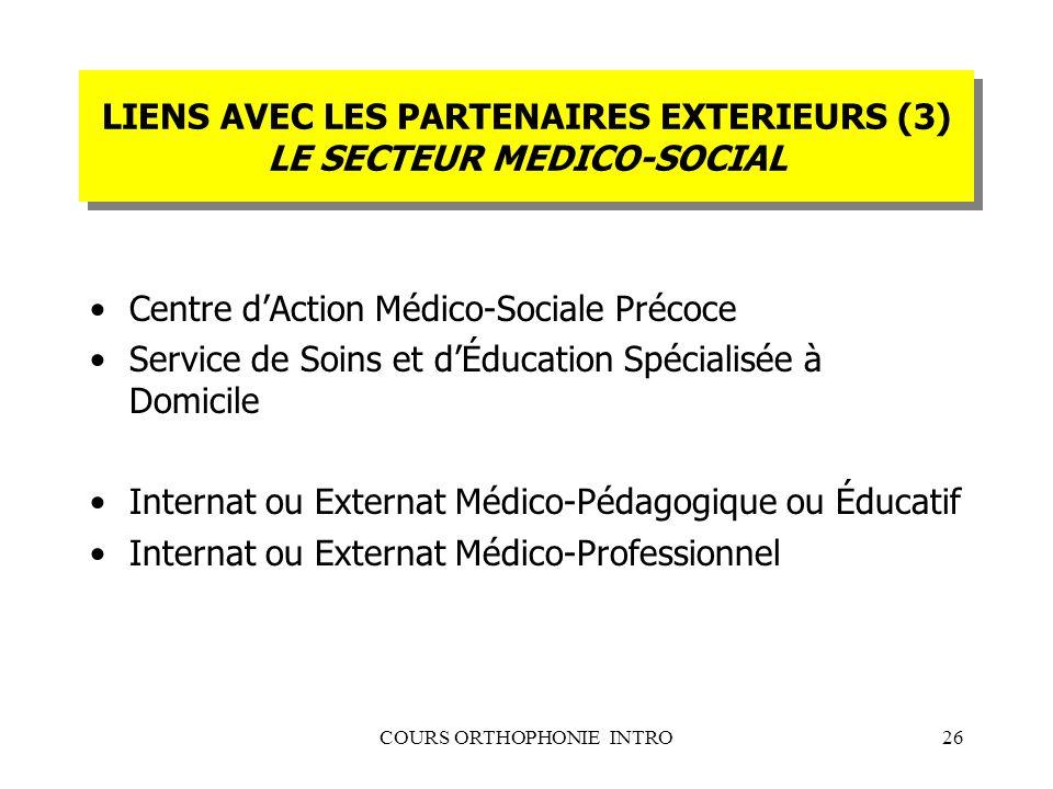 COURS ORTHOPHONIE INTRO26 LIENS AVEC LES PARTENAIRES EXTERIEURS (3) LE SECTEUR MEDICO-SOCIAL Centre dAction Médico-Sociale Précoce Service de Soins et