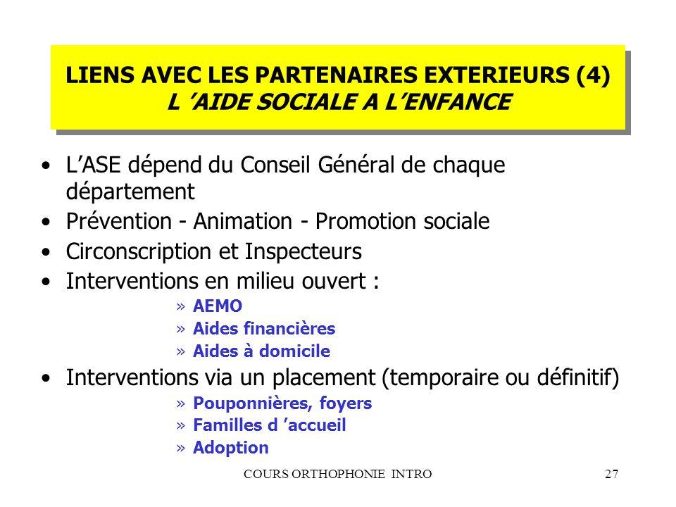 COURS ORTHOPHONIE INTRO27 LIENS AVEC LES PARTENAIRES EXTERIEURS (4) L AIDE SOCIALE A LENFANCE LASE dépend du Conseil Général de chaque département Pré