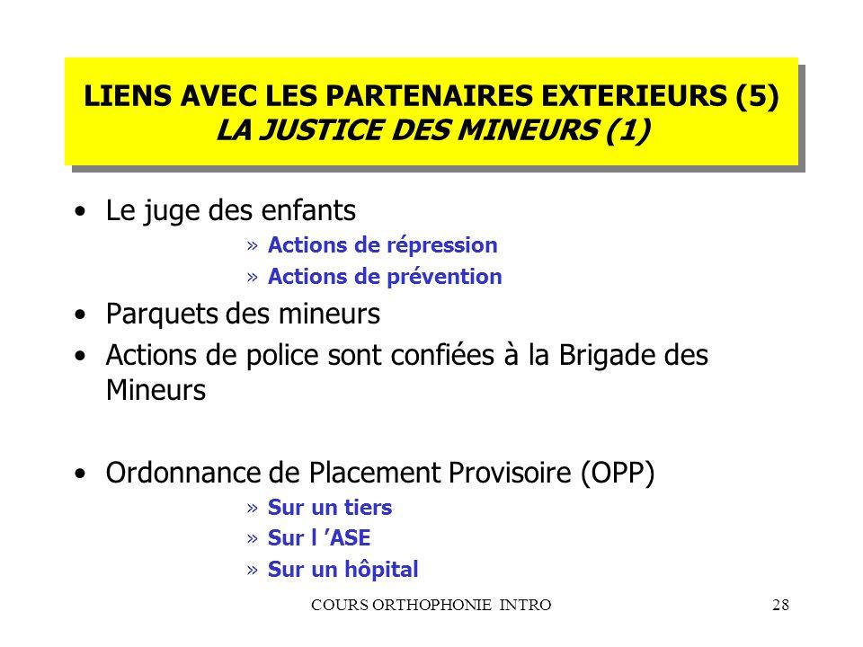 COURS ORTHOPHONIE INTRO28 LIENS AVEC LES PARTENAIRES EXTERIEURS (5) LA JUSTICE DES MINEURS (1) Le juge des enfants »Actions de répression »Actions de