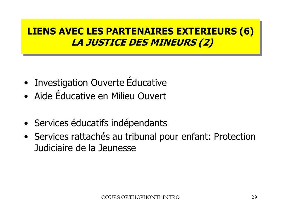 COURS ORTHOPHONIE INTRO29 LIENS AVEC LES PARTENAIRES EXTERIEURS (6) LA JUSTICE DES MINEURS (2) Investigation Ouverte Éducative Aide Éducative en Milie
