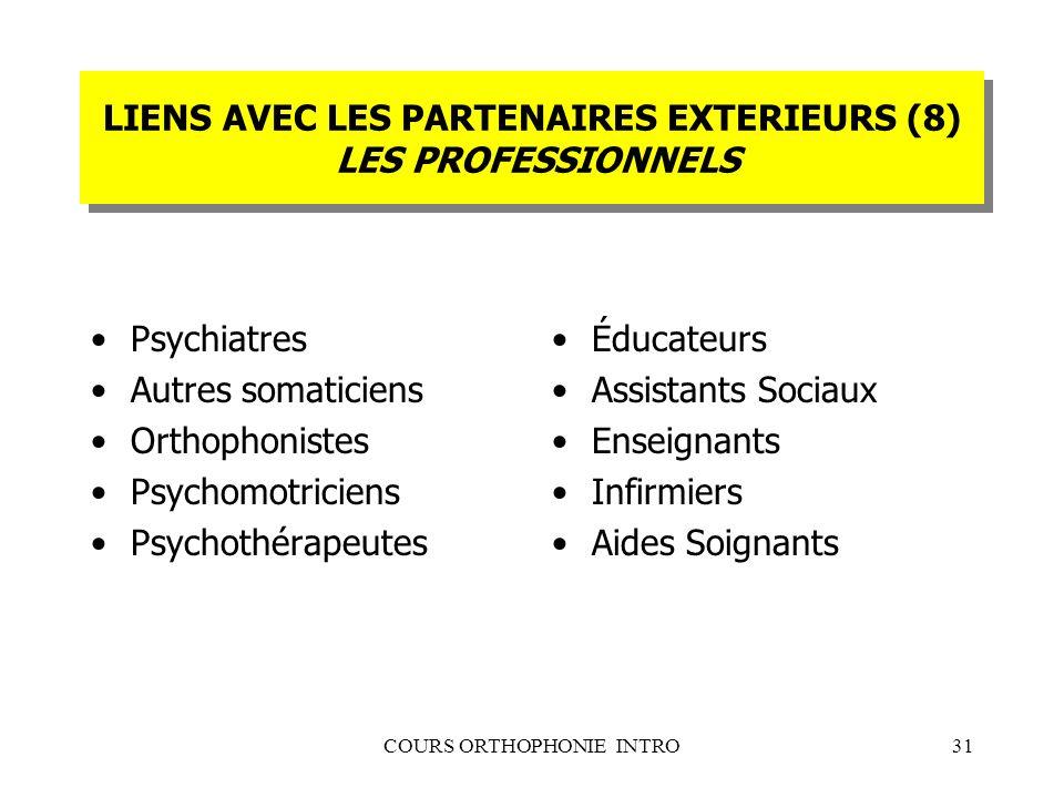 COURS ORTHOPHONIE INTRO31 LIENS AVEC LES PARTENAIRES EXTERIEURS (8) LES PROFESSIONNELS Psychiatres Autres somaticiens Orthophonistes Psychomotriciens