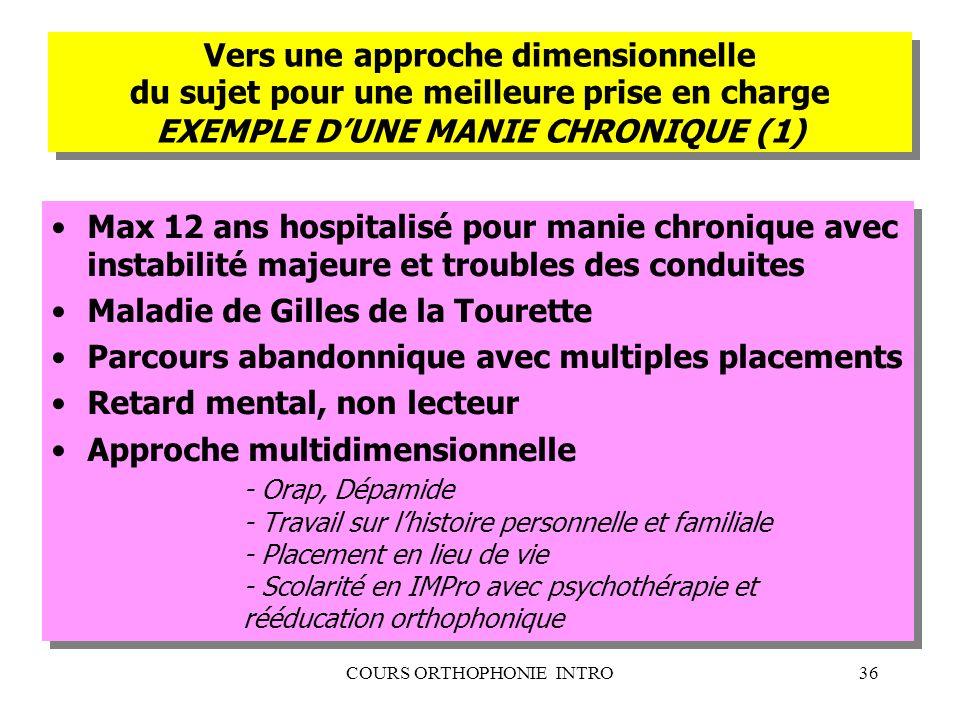 COURS ORTHOPHONIE INTRO36 Vers une approche dimensionnelle du sujet pour une meilleure prise en charge EXEMPLE DUNE MANIE CHRONIQUE (1) Max 12 ans hos