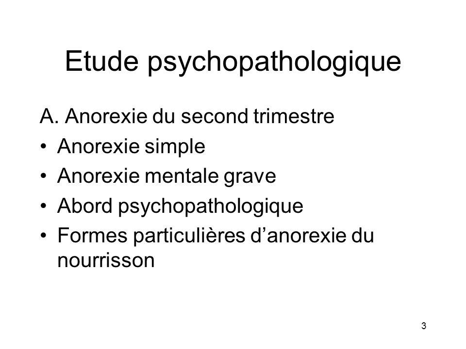 3 A. Anorexie du second trimestre Anorexie simple Anorexie mentale grave Abord psychopathologique Formes particulières danorexie du nourrisson
