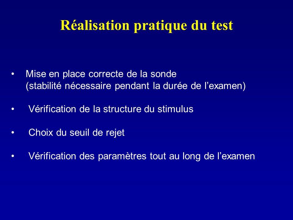Réalisation pratique du test Mise en place correcte de la sonde (stabilité nécessaire pendant la durée de lexamen) Vérification de la structure du sti
