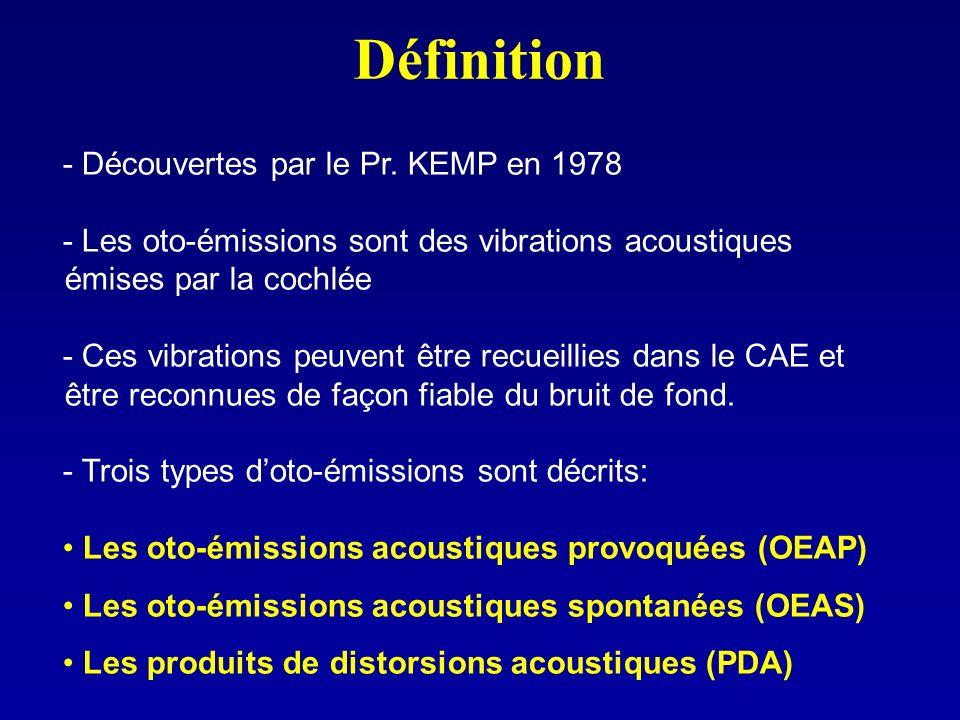 Définition - Découvertes par le Pr. KEMP en 1978 - Les oto-émissions sont des vibrations acoustiques émises par la cochlée - Ces vibrations peuvent êt