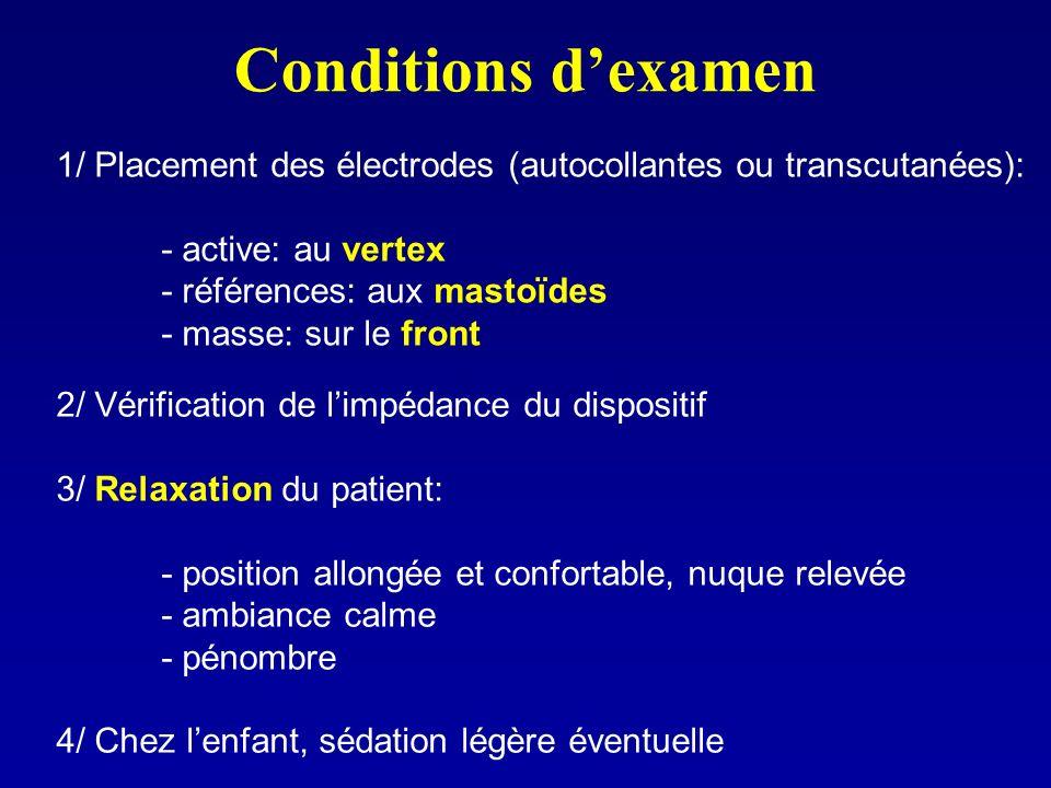 Conditions dexamen 1/ Placement des électrodes (autocollantes ou transcutanées): - active: au vertex - références: aux mastoïdes - masse: sur le front