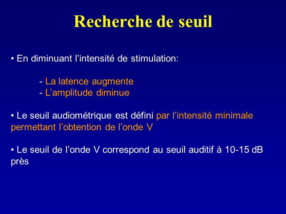 Recherche de seuil En diminuant lintensité de stimulation: - La latence augmente - Lamplitude diminue Le seuil audiométrique est défini par lintensité