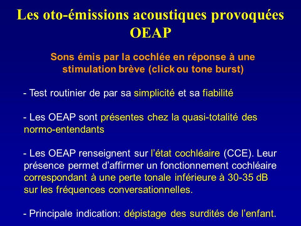 Les oto-émissions acoustiques provoquées OEAP Sons émis par la cochlée en réponse à une stimulation brève (click ou tone burst) - Test routinier de pa