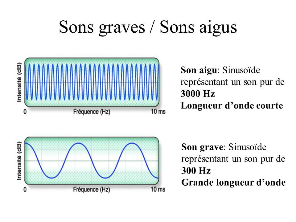 Sons graves / Sons aigus Son aigu: Sinusoïde représentant un son pur de 3000 Hz Longueur donde courte Son grave: Sinusoïde représentant un son pur de 300 Hz Grande longueur donde