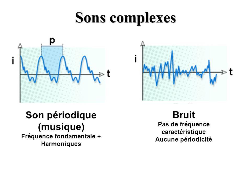 Sons complexes Son périodique (musique) Fréquence fondamentale + Harmoniques Bruit Pas de fréquence caractéristique Aucune périodicité
