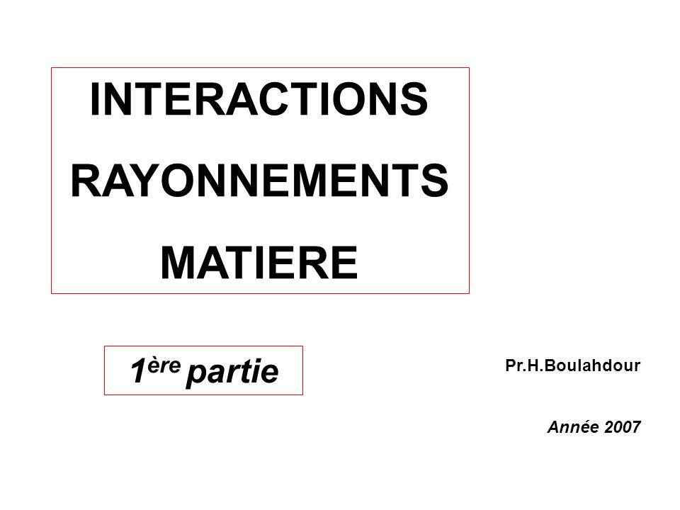 INTERACTIONS RAYONNEMENTS MATIERE Pr.H.Boulahdour Année 2007 1 ère partie