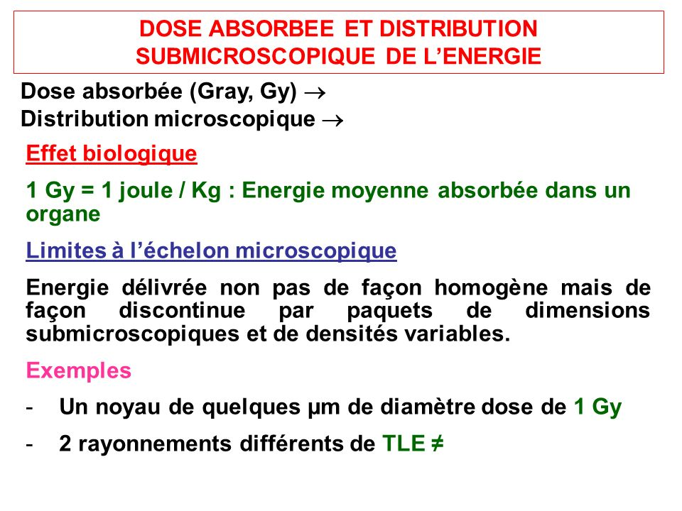 DOSE ABSORBEE ET DISTRIBUTION SUBMICROSCOPIQUE DE LENERGIE Dose absorbée (Gray, Gy) Distribution microscopique Effet biologique 1 Gy = 1 joule / Kg : Energie moyenne absorbée dans un organe Limites à léchelon microscopique Energie délivrée non pas de façon homogène mais de façon discontinue par paquets de dimensions submicroscopiques et de densités variables.