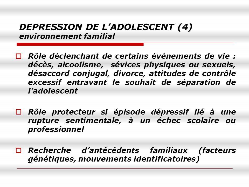 DEPRESSION DE LADOLESCENT (4) environnement familial Rôle déclenchant de certains événements de vie : décès, alcoolisme, sévices physiques ou sexuels,