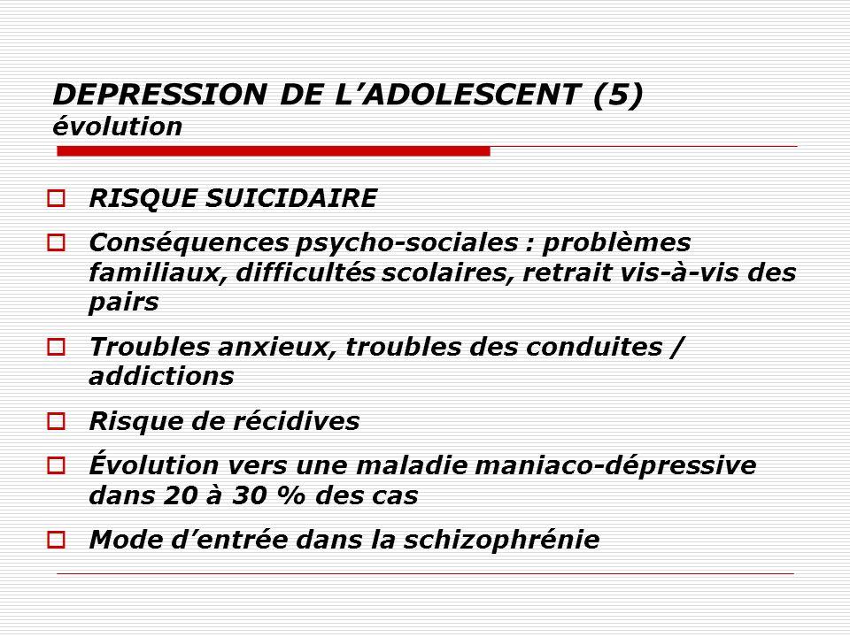 DEPRESSION DE LADOLESCENT (5) évolution RISQUE SUICIDAIRE Conséquences psycho-sociales : problèmes familiaux, difficultés scolaires, retrait vis-à-vis