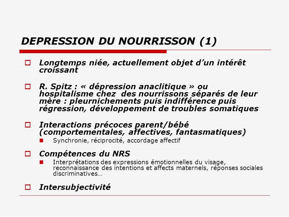 DEPRESSION DU NOURRISSON (1) Longtemps niée, actuellement objet dun intérêt croissant R. Spitz : « dépression anaclitique » ou hospitalisme chez des n