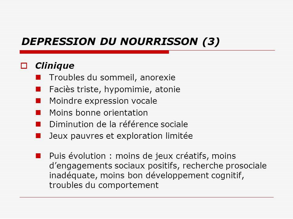 DEPRESSION DU NOURRISSON (3) Clinique Troubles du sommeil, anorexie Faciès triste, hypomimie, atonie Moindre expression vocale Moins bonne orientation