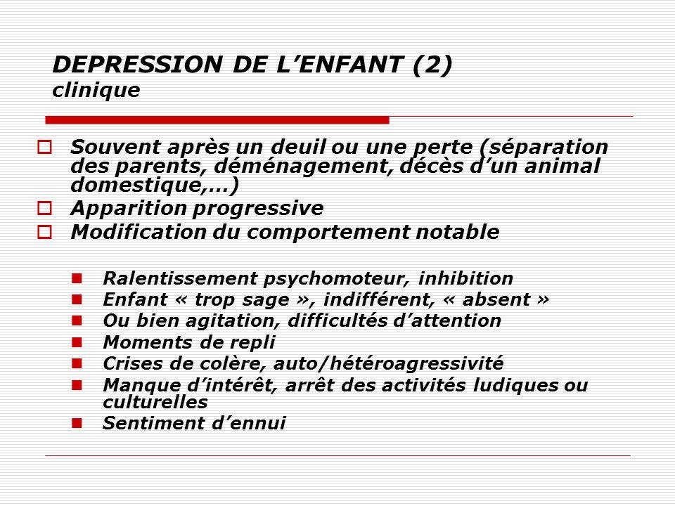 DEPRESSION DE LENFANT (2) clinique Souvent après un deuil ou une perte (séparation des parents, déménagement, décès dun animal domestique,…) Apparitio