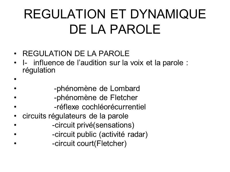REGULATION DE LA PAROLE I- influence de laudition sur la voix et la parole : régulation -phénomène de Lombard -phénomène de Fletcher -réflexe cochléorécurrentiel circuits régulateurs de la parole -circuit privé(sensations) -circuit public (activité radar) -circuit court(Fletcher)