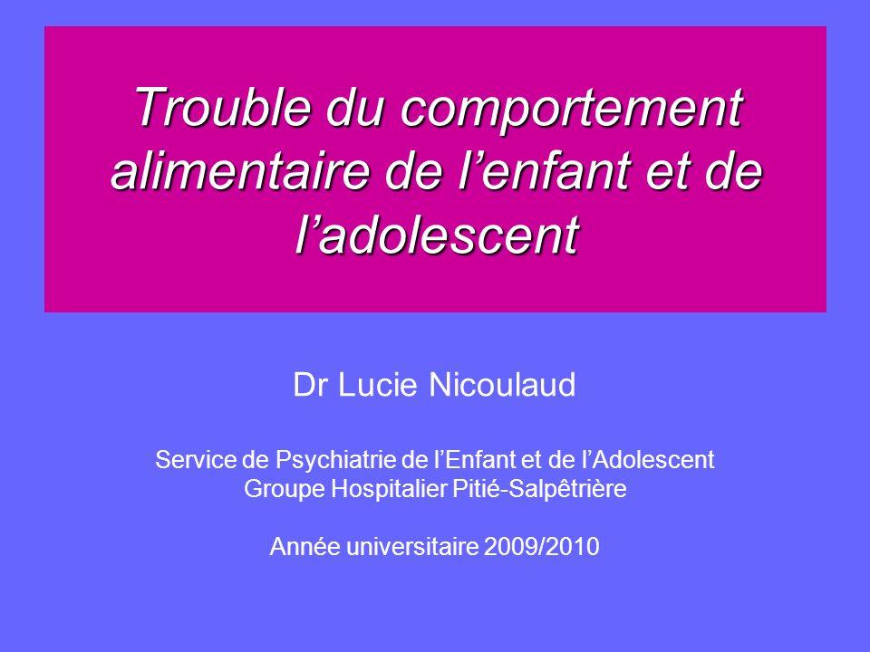 Trouble du comportement alimentaire de lenfant et de ladolescent Dr Lucie Nicoulaud Service de Psychiatrie de lEnfant et de lAdolescent Groupe Hospita