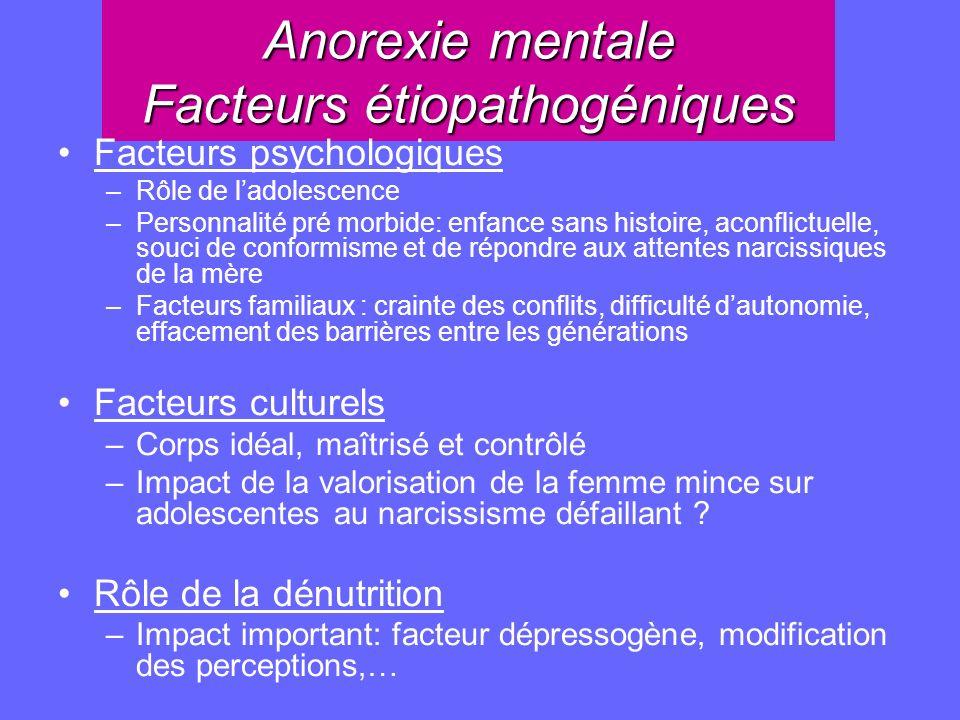 Anorexie mentale Facteurs étiopathogéniques Facteurs psychologiques –Rôle de ladolescence –Personnalité pré morbide: enfance sans histoire, aconflictu