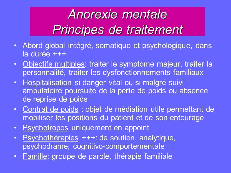 Anorexie mentale Principes de traitement Abord global intégré, somatique et psychologique, dans la durée +++ Objectifs multiples: traiter le symptome