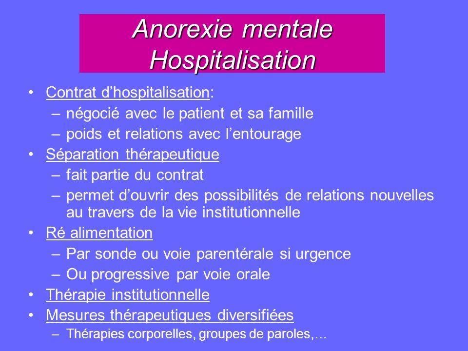 Anorexie mentale Hospitalisation Contrat dhospitalisation: –négocié avec le patient et sa famille –poids et relations avec lentourage Séparation théra
