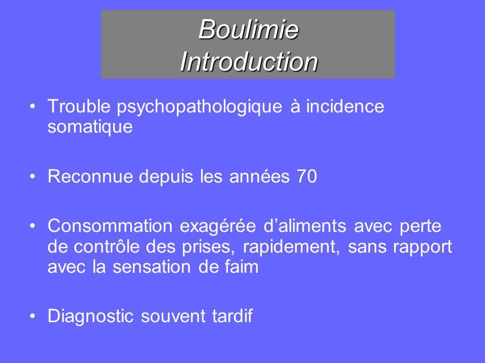 Boulimie Introduction Trouble psychopathologique à incidence somatique Reconnue depuis les années 70 Consommation exagérée daliments avec perte de con