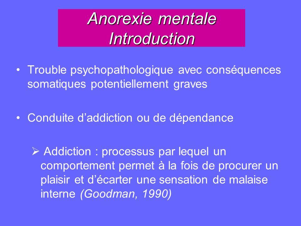 Anorexie mentale Introduction Trouble psychopathologique avec conséquences somatiques potentiellement graves Conduite daddiction ou de dépendance Addi