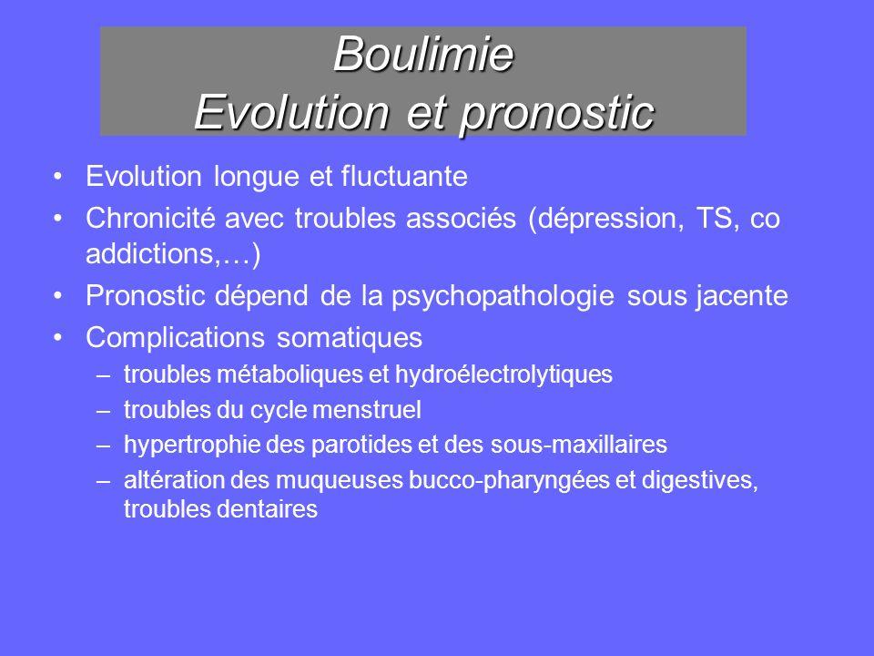 Boulimie Evolution et pronostic Evolution longue et fluctuante Chronicité avec troubles associés (dépression, TS, co addictions,…) Pronostic dépend de