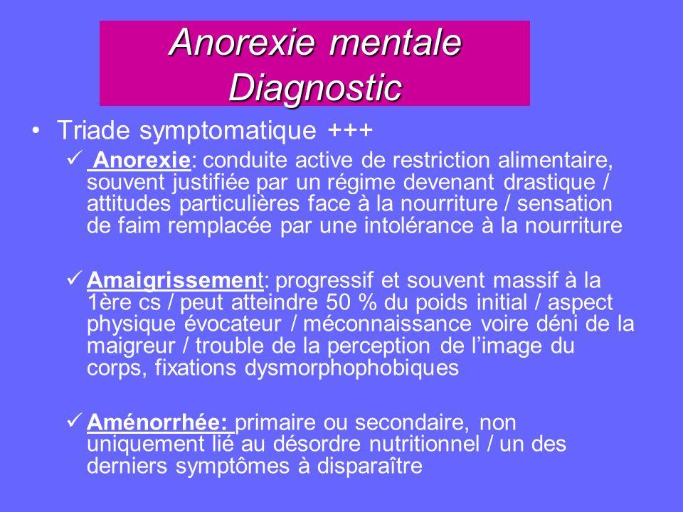 Anorexie mentale Diagnostic Triade symptomatique +++ Anorexie: conduite active de restriction alimentaire, souvent justifiée par un régime devenant dr