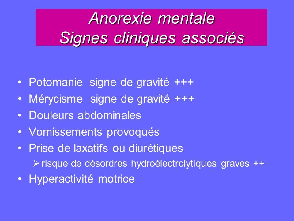 Anorexie mentale Signes cliniques associés Potomanie signe de gravité +++ Mérycisme signe de gravité +++ Douleurs abdominales Vomissements provoqués P