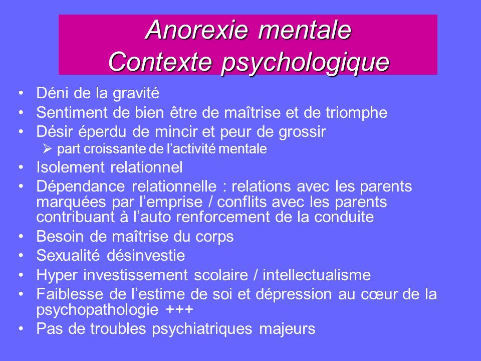 Anorexie mentale Contexte psychologique Déni de la gravité Sentiment de bien être de maîtrise et de triomphe Désir éperdu de mincir et peur de grossir