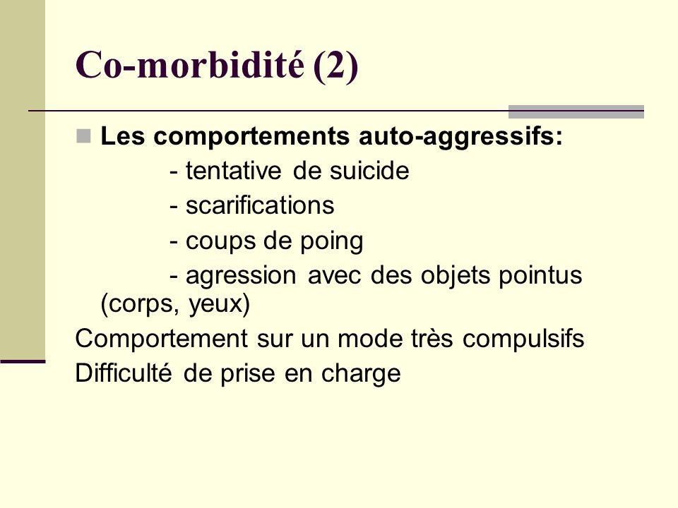 Co-morbidité (2) Les comportements auto-aggressifs: - tentative de suicide - scarifications - coups de poing - agression avec des objets pointus (corp