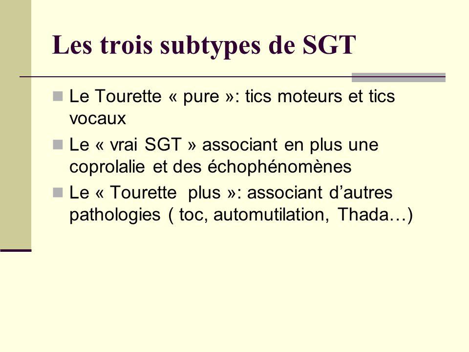 Les trois subtypes de SGT Le Tourette « pure »: tics moteurs et tics vocaux Le « vrai SGT » associant en plus une coprolalie et des échophénomènes Le