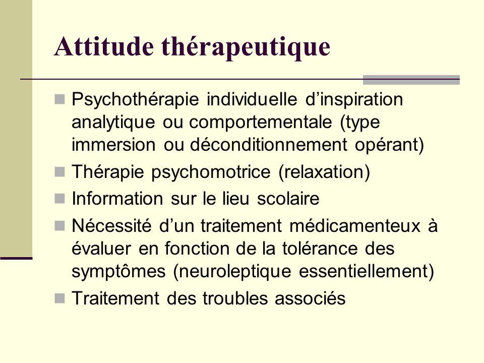 Attitude thérapeutique Psychothérapie individuelle dinspiration analytique ou comportementale (type immersion ou déconditionnement opérant) Thérapie p