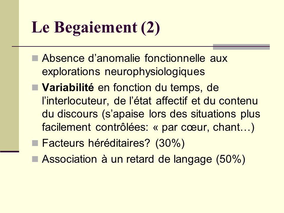 Le Begaiement (2) Absence danomalie fonctionnelle aux explorations neurophysiologiques Variabilité en fonction du temps, de linterlocuteur, de létat a