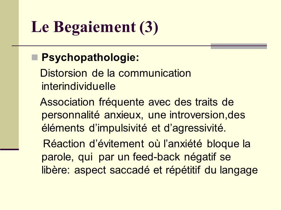 Le Begaiement (3) Psychopathologie: Distorsion de la communication interindividuelle Association fréquente avec des traits de personnalité anxieux, un