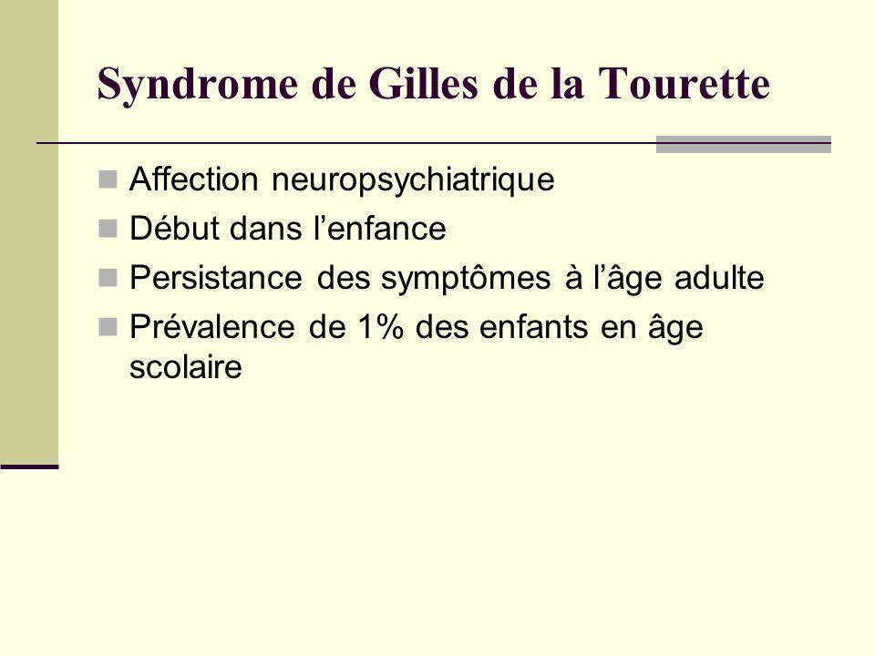 Syndrome de Gilles de la Tourette Affection neuropsychiatrique Début dans lenfance Persistance des symptômes à lâge adulte Prévalence de 1% des enfant