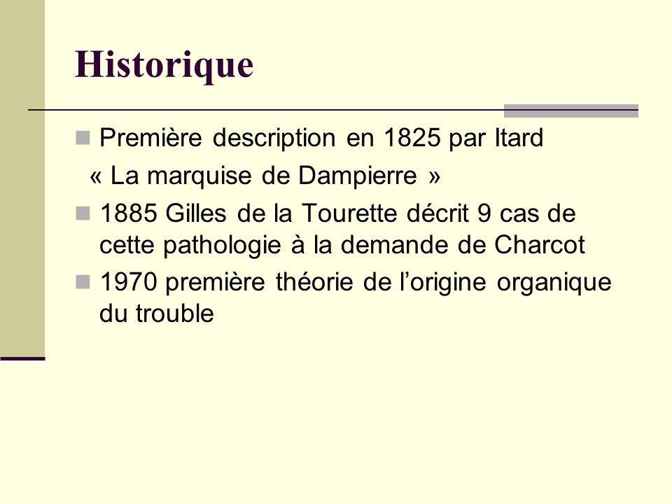Historique Première description en 1825 par Itard « La marquise de Dampierre » 1885 Gilles de la Tourette décrit 9 cas de cette pathologie à la demand