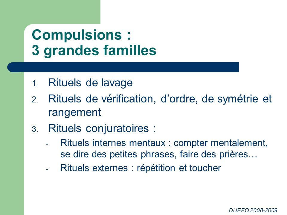 DUEFO 2008-2009 Compulsions : 3 grandes familles 1.