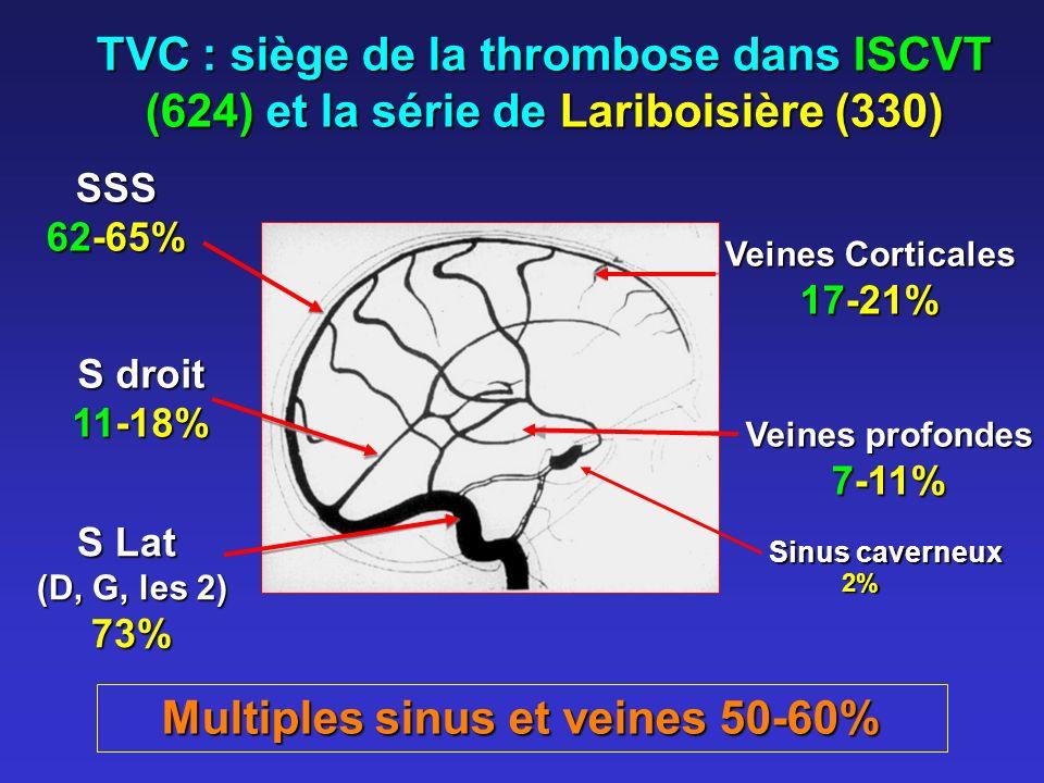 TVC : siège de la thrombose dans ISCVT (624) et la série de Lariboisière (330) SSS 62-65% S droit 11-18% S Lat (D, G, les 2) 73% Veines Corticales 17-21% Multiples sinus et veines 50-60% Veines profondes 7-11% Sinus caverneux 2% 2%